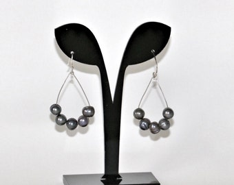 Freshwater, black pearl, sterling earring