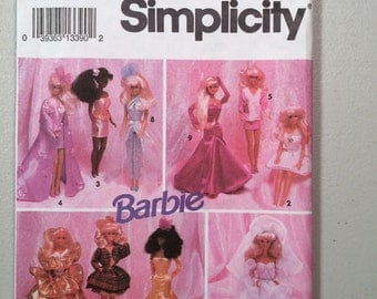 1992 Simplicity sewing pattern 8157 Barbie fashion doll evening wardrobe clothes uncut gowns dresses