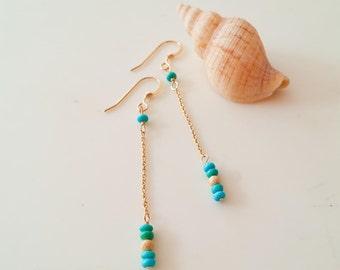 turquoise earrings,14k gold fill earrings,natural earrings,