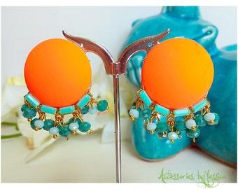 Neon glass beads clip on earrings
