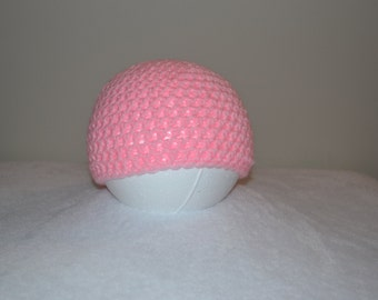 Toddler Crocheted Pink Beanie