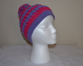 Children's Pink and Purple Stripe Beanie with Ball