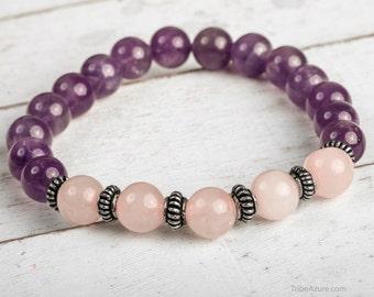 Mala Bracelet, Amethyst Bracelet, Rose Quartz Bracelet, Bridesmaid Bracelet, Yoga Bracelet, Energy Bracelet, Purple Bead Bracelet