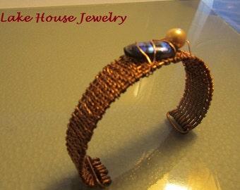 Woven Copper Cuff Bracelet