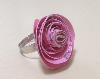 Pink paper rose ring