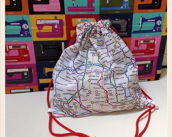 Child's PE/toy bag in London Underground retro fabric