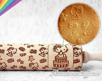 Hello kitty pattern,Engraved rolling pin,Hello Kitty cookies,Hello Kitty cookie,Rolling pin,rolling pins,cute