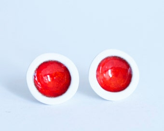 Ceramic - Bowl Earrings- Coral Red and White