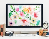 Desktop Wallpaper for Computer or iPad, Colorful Watercolor Floral Illustration Hand Painted INSTANT DOWNLOAD Screensaver Flowers Background