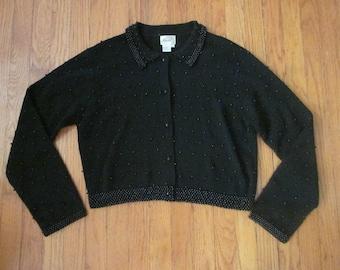 Ann Wi Black Beaded Cardigan Sweater L Large Vintage Wool Blend