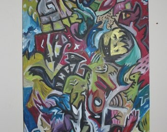 Painting acrylic Grand Format 24 by 48 inches title chaotic wonder