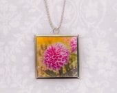 Floral Necklace Photography Glass Pendant,Dahlia Flower Botanical Pendant,Necklace,Pink,Nature Photography,Photo Jewelry,Square Silver