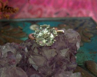Aqua flower Cluster silver ring