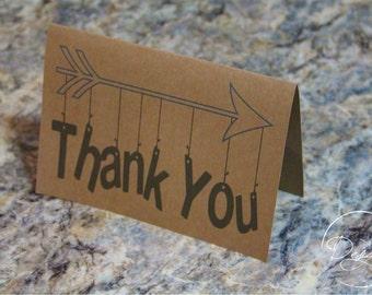 Hanging Arrow Thank You Cards, Kraft Thank You Card Set, Thank You, Wedding Thank You Cards - Set of 15