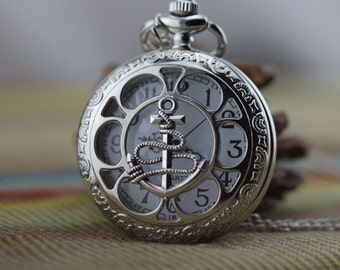 antique silver brass MARINE anchor MARCO POLO pocket watch pendant necklace W38