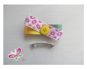 Clip hair Crown/multicolor yellow button
