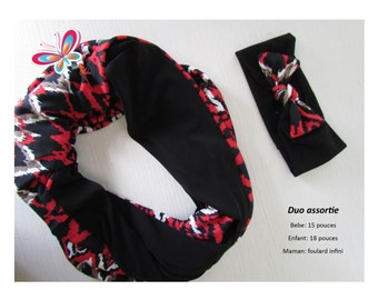 Duo with girl and scarf headband infinite MOM diamond red/white/black