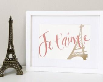 Paris print - Je t'aime