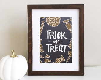 Trick or Treat - Hand lettering print