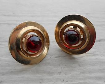 Vintage Red Glass Cufflinks. 1960's. Gift For Groomsmen, Groom, Dad, Husband.