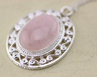Pink Quartz Pendant,rose Quartz Necklace Christmas Gifts