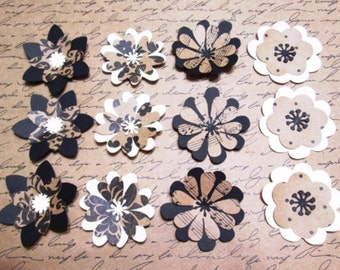 Set of 12 Everyday Kraft Collection layered Cardstock Paper Flowers