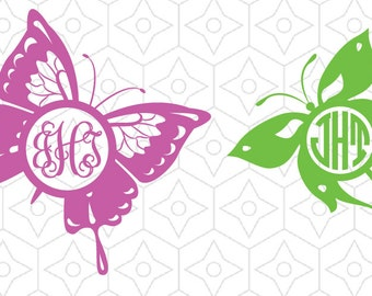 Butterfly Silhouette Monogram Frame Decals, SVG, DXF, AI Vector for use with Silhouette Cameo and Cricut Machines