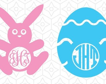 Easter Decal Monogram Frames, SVG, DXF and AI Vector Files for use with Cricut and Silhouette Vinyl Cutting Machines