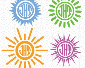 Sunburst Decal Monogram Frames, SVG, DXF and AI Vector Files for use with Silhouette and Cricut Vinyl Cutting Machines