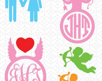 Valentines and Cupid Decals and Monogram Frames, SVG, DXF and AI Vector Files for use with Silhouette and Cricut Vinyl Cutting Machines