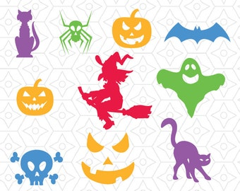 Halloween Decal Collection, SVG, DXF and AI Vector Files for use with Cricut and Silhouette Vinyl Cutting Machines