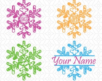 Snowflake Swirl Monogram Frames and Decals, SVG, DXF and AI Vector Files for use with Cricut and Silhouette Vinyl Cutting Machines