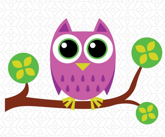 Cute owl on branch silhouette