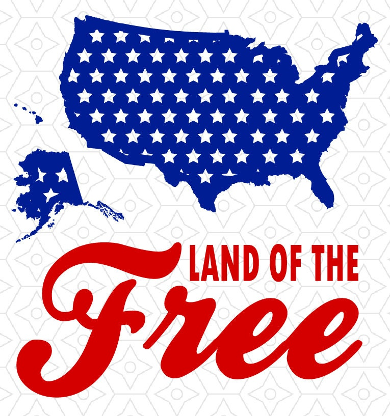 Land of the free united states map decal svg dxf and ai for States with free land