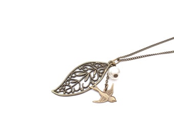 Necklace Leaf and Bird