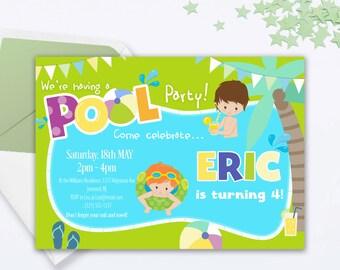 Pool Party Birthday Invitation - Pool Party Invitation - Pool Party Invite - Pool Party Birthday Invite