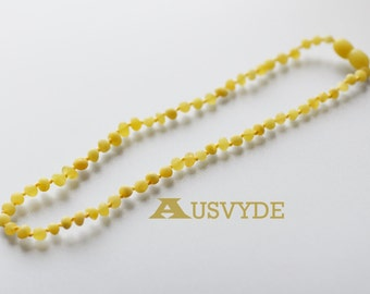Raw Baltic amber necklace. Matted amber beads. For kids. Raw (unpolished) amber. 35 cm (~13,7 inches), Natural amber. 5677