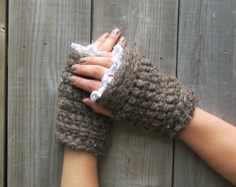 Bohemian Fingerless Gloves, Wrist Warmers, Hand Warmers, Chunky Yarn, Brown, Women, Texting Gloves, Crocheted Wristers, ready to ship