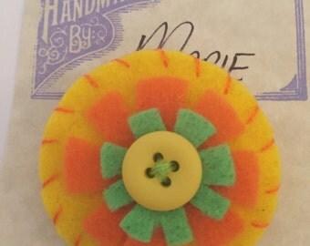 Felt Flower Lapel Pin or Brooch