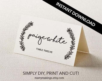 Name cards, seating cards, diy placecard, download, rustic place card, editable, wedding table, name card template,floral,floral wedding, 36