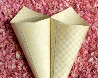 Confetti Cones - Antiqued Soft Floral and Gingham Wedding Confetti Cones - ten heavyweight cones in a neutral color - mix and match!