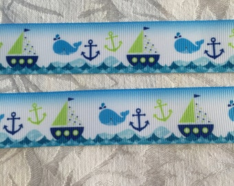 "Cute 7/8"" Anchors and Sailboats Grosgrain Ribbon"