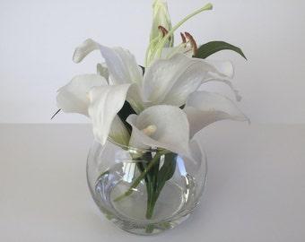 """SALE! Faux Silk Floral Arrangement, Faux Water, Artificial Flower Arrangement, Wedding Flowers, Home Decoration - 8"""" Tall"""