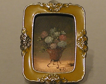 Miniature Painting with Yellow Frame