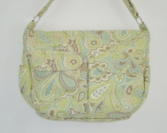 Diaper bag, large day bag, multi pockets, cotton duck fabric, green, tan, cream, handmade, adjustable strap, elastic pockets
