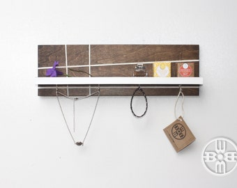 Jewelry Rack, Necklace Hanger, Gift for Women, Mothers Day Gift, Jewelry Holder, Floating Shelf, Wood Shelf, Bedroom Decor, Wall Hook, Shelf
