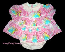 """Adult Baby Sissy """"Shorty"""" Dress Up Set~Skirted Pantie ABDL Diaper cover~Pink Princess~Custom Handmade in your Measurements~"""