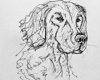 Golden Retriever in Ink, Naturally
