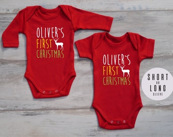 FIRST CHRISTMAS Outfit, Personalized Baby Bodysuit, Gender Neutrlal Baby Outfit, Christmas Baby Boy Outfit, Christmas Baby Girl Outfit