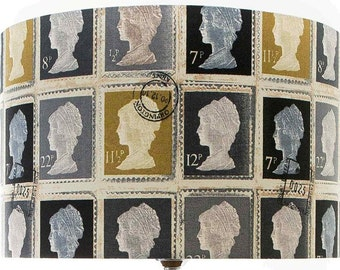 Prestigious First Class Postage Stamp Charcoal Lampshade Ceiling pendant or Table Lamp